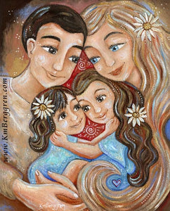 art print with daisies of father, blonde mother and two daughters by KmBerggren