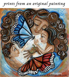 art print of curly brown haired mom with two children and two large butterflies by KmBerggren