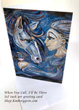 horse therapy artwork, greeting card of horse and pregnant woman