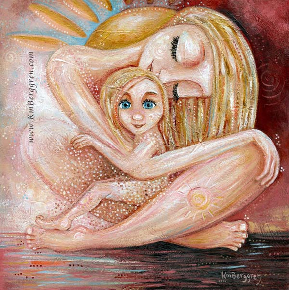 Where Will We Go From Here - Blonde Mother with Blue Eyed Girl Art Print