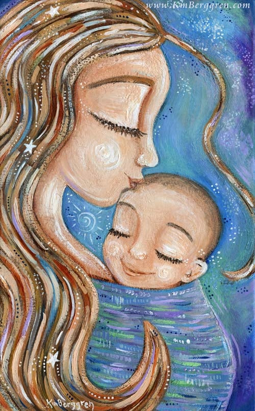 tall blue art print of mother wearing infant and kissing baby's head by KmBerggren