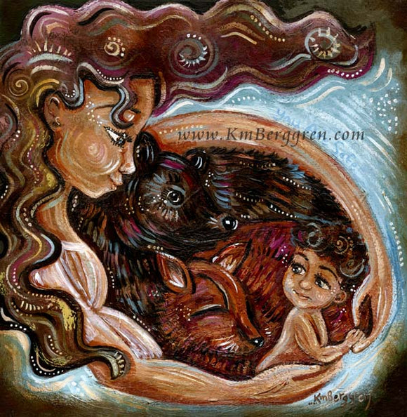 art print on canvas or paper of mother with child fox and bear by KmBerggren