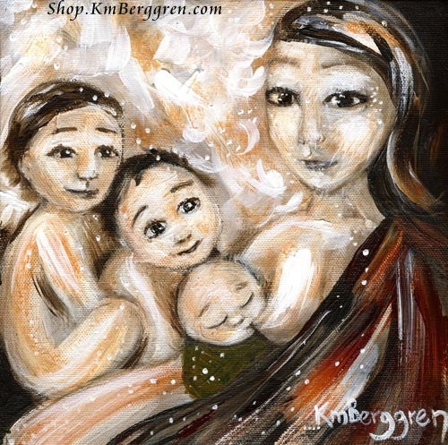 mom with brown hair nursing baby with two older kids art