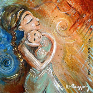 mama carrying smiling baby art