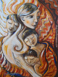 brunette mother with three brunette boys red quilt art print