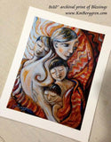 8x10 inch art print of mother with three sons with red background
