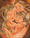 warm art print of mother with two blonde daughters