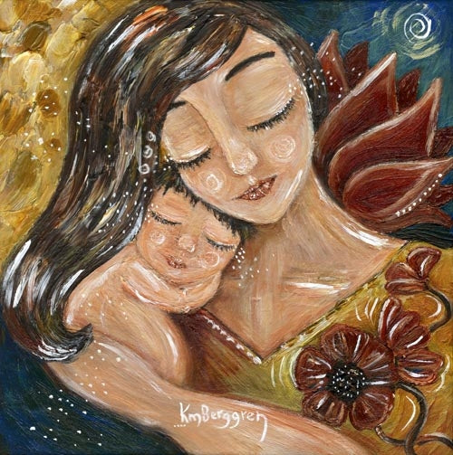 brunette mother holding naked baby with flowers art print by kmberggren