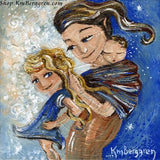 blue art print of brunette mother braiding blonde daughters hair wearing infant on back