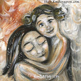 art print of a brunette mother being hugged by her older daughter with blonde hair buns