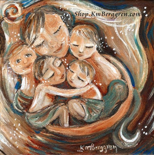 an art print of a mother sleeping in a bed circled by her four children