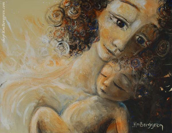 a curly haired mother with a curly baby, skin to skin art print by Katie m. Berggren