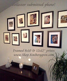 a collection of framed artwork by KmBerggren on a collectors wall