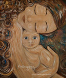 art print of red curly haired mother with big blue eyed naked baby in her arms - art by KmBerggren