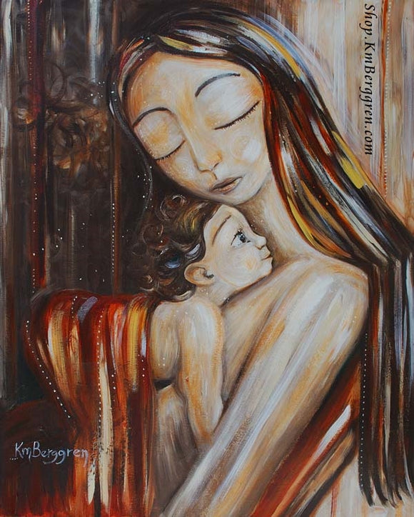 art work of long brown haired mother holding curly brown haired child against her chest with red blanket