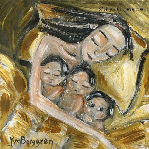 art work showing a black haired mother sleeping in a yellow bed with three black haired children