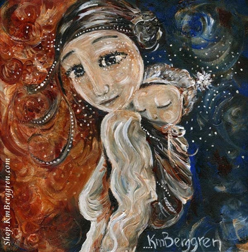 red and blue artwork of mother wearing an infant on her back by KmBerggren