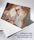 holding a baby angel greeting card, blank frameable art card for mom