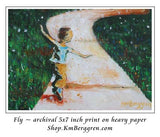 art print of a little boy running down a path through green grass with his arms out like he is flying - art by KmBerggren