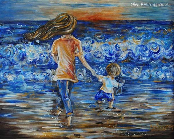 mother walking towards the sun and towards the water on the beach holding hands with a little boy, sunset on the beach art by KmBerggren