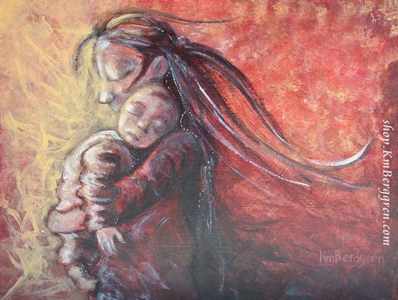 artwork of long haired mother holding baby on her shoulder in reds and yellows, by KmBerggren