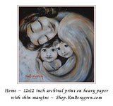 black and white artwork of mother with black hair holding two children. Choose Embellished for eye color changes.