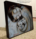 black and white stretched canvas print by KmBerggren of mother with black hair holding two children. Choose Embellished for eye color changes.