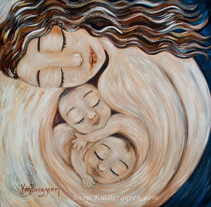 artwork of mother holding twin babies skin to skin by KmBerggren, gentle soothing gifts for mom