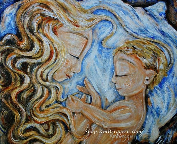 artwork by KmBerggren of blonde curly hair mom sleeping in blue bed with blonde son