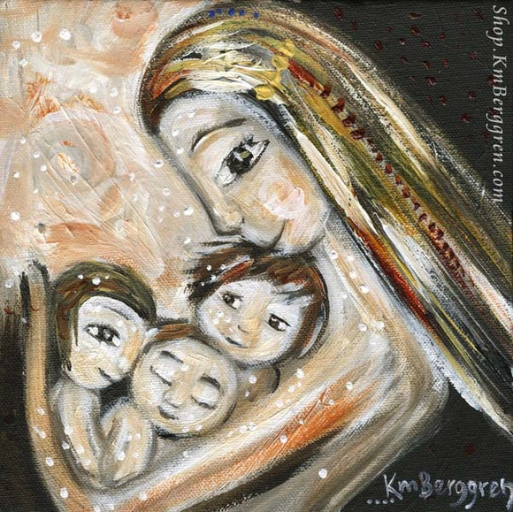 art print of blonde mother cradling three small children in her arms by KmBerggren - tan and warm tones. Choose Embellished to customize eye colors.
