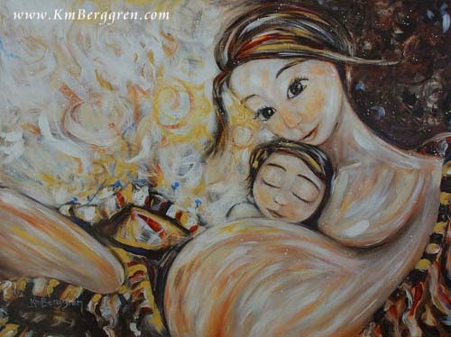 art print in warm neutral tones by KmBerggren of pregnant mother with large belly and small child hugging her