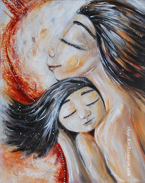 Artwork of Asian mother holding daughter against her chest in pinks and red colors by KmBerggren