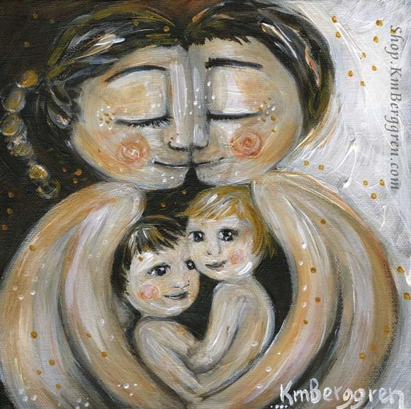 Choose Embellished for Custom Eye Colors. Warm Artwork of Mother and father with two children in their laps by KmBerggren