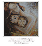 golden and brown art print of a mother hugging two children. Emotional artwork by KmBerggren