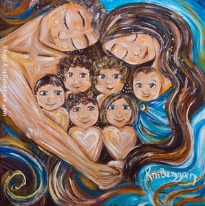 artwork showing family with six kids and mom and dad with blue background and long reddish brown hair, KmBerggren art