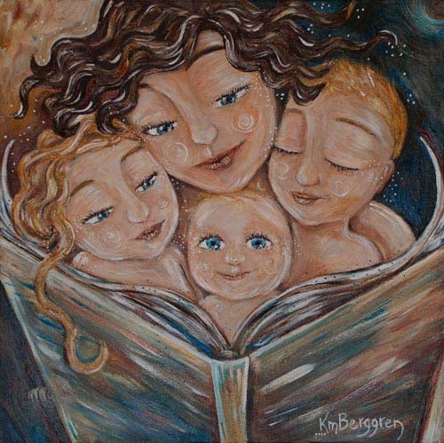 art print of mother with brown curly hair reading to three blonde children, by KmBerggren