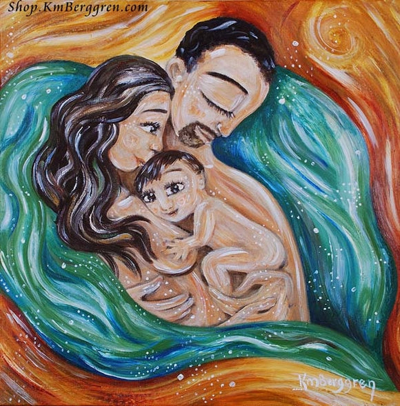 waterbirth artwork by KmBerggren, mother and father with baby in water colored heart