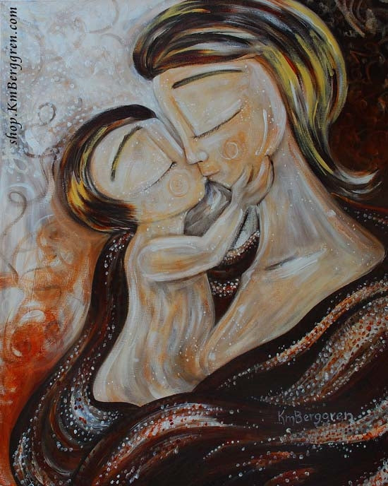warm neutral tones artwork of short hair mom kissing toddler on the lips by KmBerggren