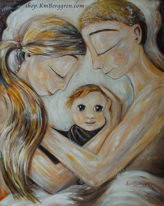 artwork of blonde mother and father with new baby with big eyes by KmBerggren