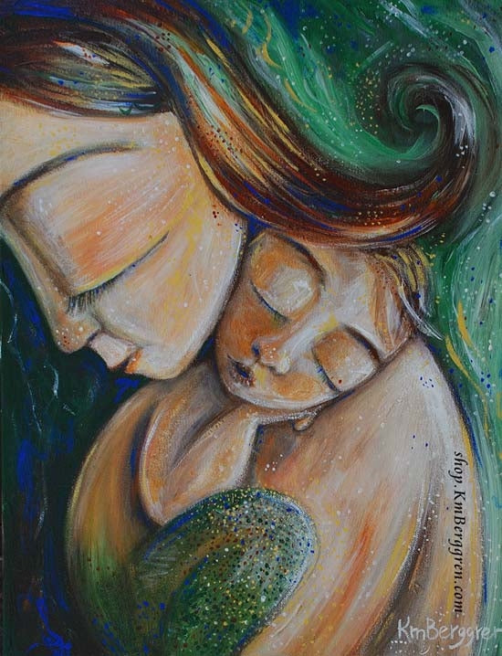 green artwork of red haired woman holding sleeping baby mermaid, by KmBerggren