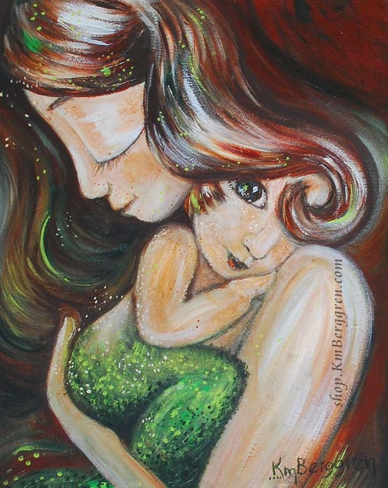 green and red art print of mother holding mermaid child, by KmBerggren