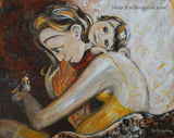 artwork of mother hugging small child while holding a bird on her hand, yellow dress soft and gentle art by Katie m. Berggren