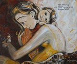 sample art print of mother hugging small child while holding a bird on her hand, yellow dress soft and gentle art by Katie m. Berggren