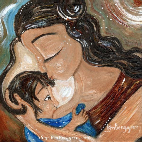 motherhood nursing artwork in blues and reds by KmBerggren
