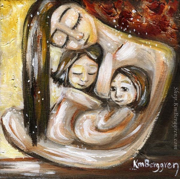 art print in reds and yellows of mother with brown hair holding two short haired children in her lap. Skin to skin art by KmBerggren