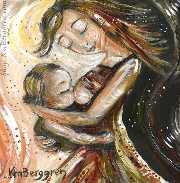 breastfeeding art print of mother dancing with toddler while nursing by KmBerggren