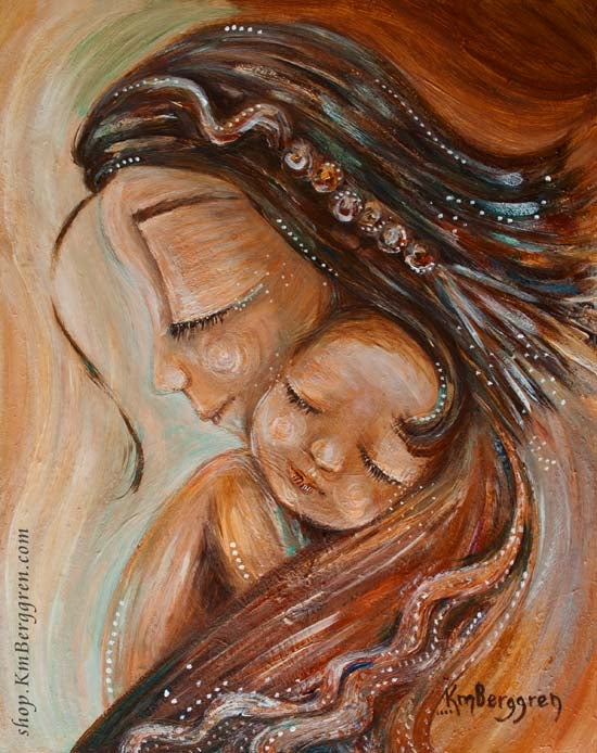 art print in warm tones by KmBerggren of mother with braided hair and sleeping bald child