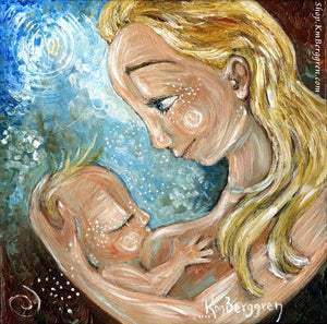 breastfeeding art print of blonde mom and blonde baby with blue background by KmBerggren