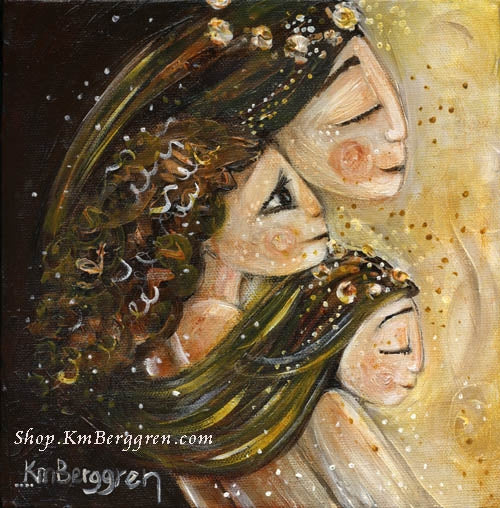 Woman with two daughters brown and gold art print, flowers in hair by KmBerggren