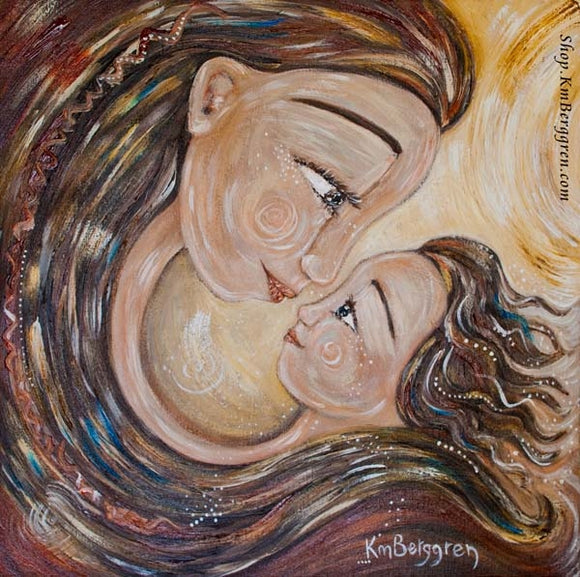 connected mother and daughter artwork with hair wraps and eye to eye connection by KmBerggren